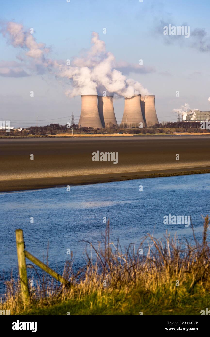 Kohle-Kraftwerk, Fiddlers Ferry, England Stockbild