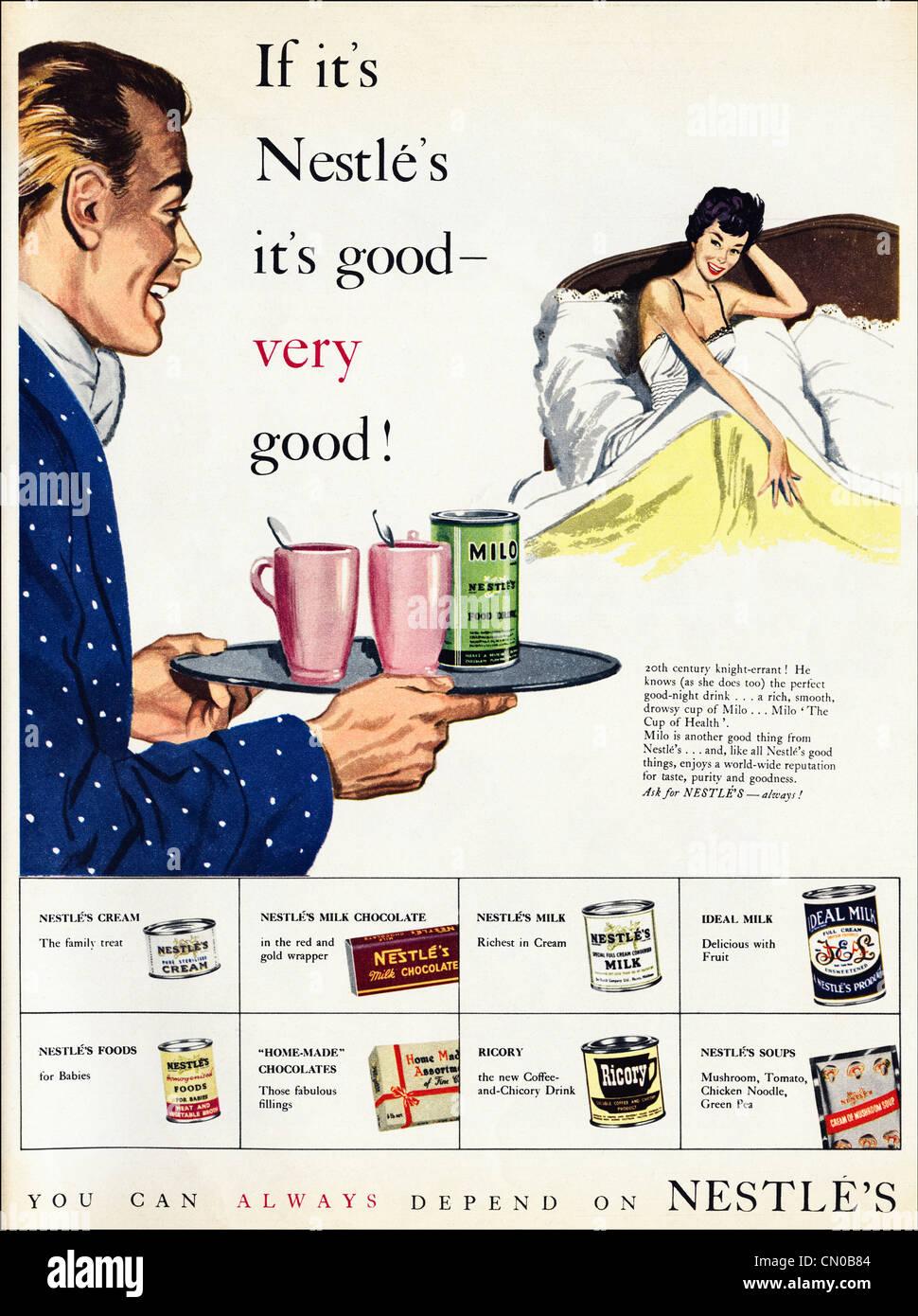 Nestlé Getränke und Suppe Anzeige Original Werbung von der 1950er ...