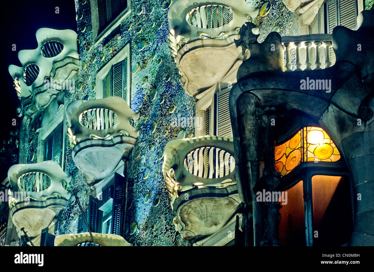 Spanien-Katalonien-Barcelona-Batlò-Haus Stockbild