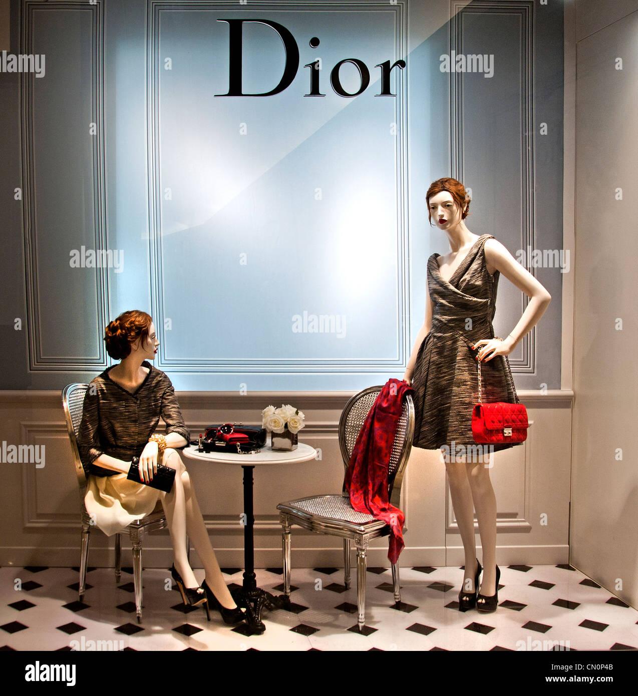 Dior Le Bon Marché Paris Frankreich Mode-Kaufhaus Stockbild
