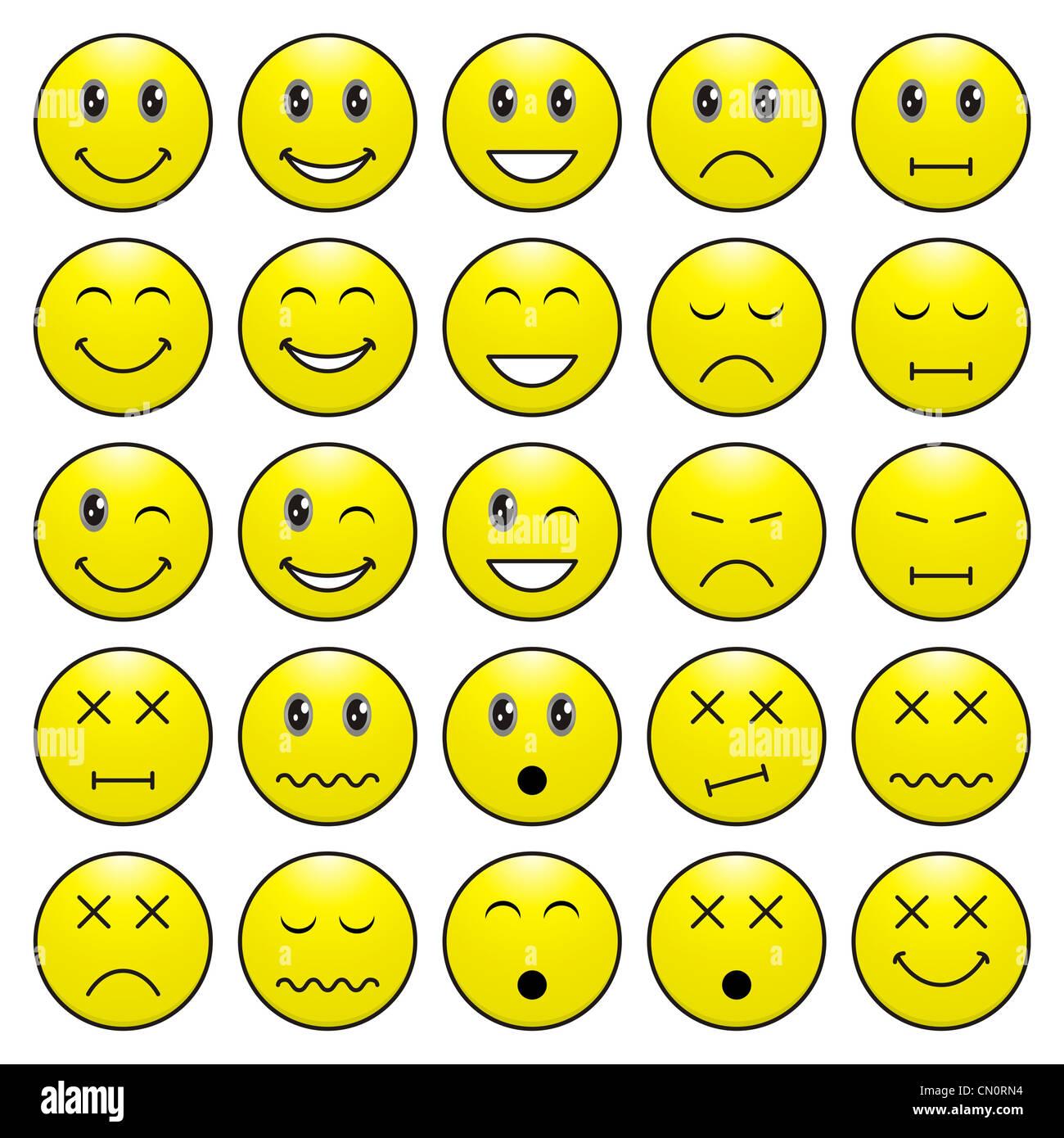Pack von Gesichtern (Emoticons) mit verschiedenen Emotionen Ausdruck Stockbild