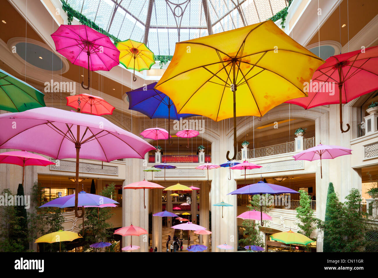Hängende Schirme, Palazzo, Las Vegas-Paradies Stockbild