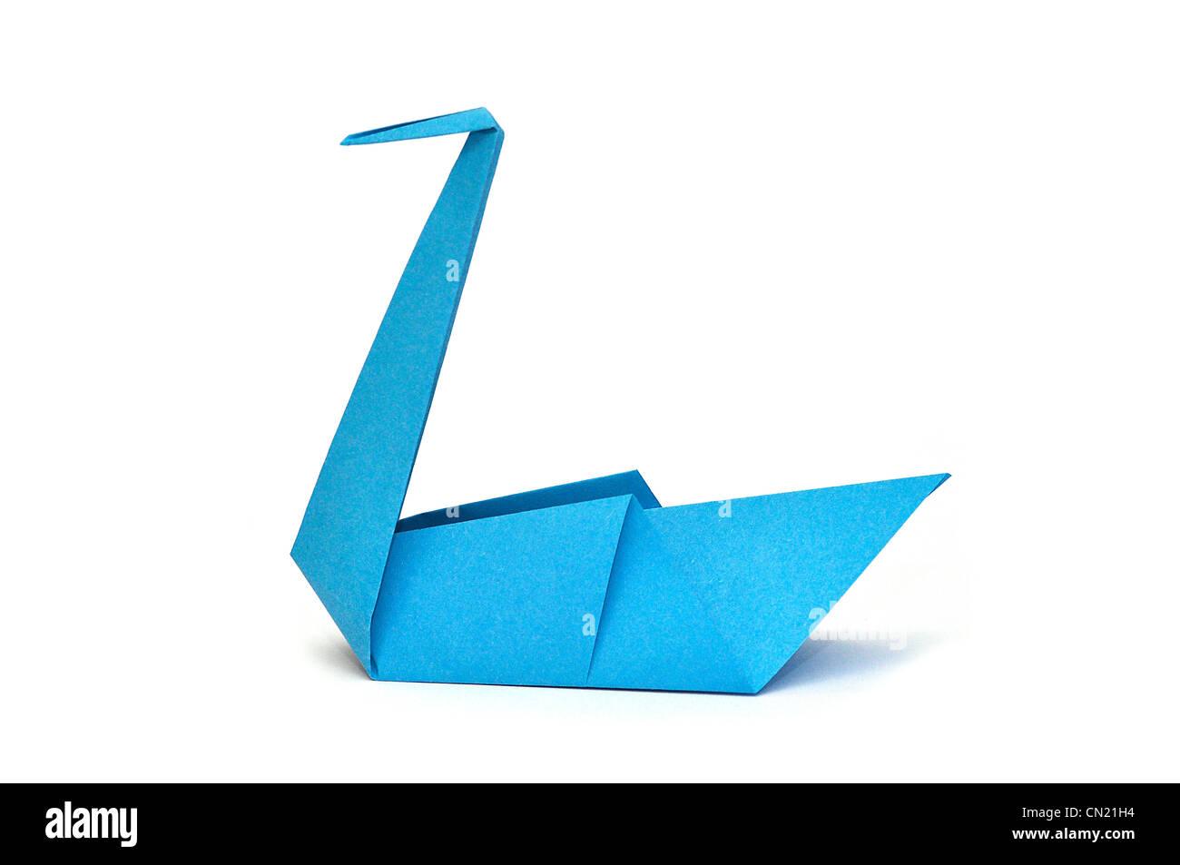 Blaues Papier Origami Schwan Stockbild