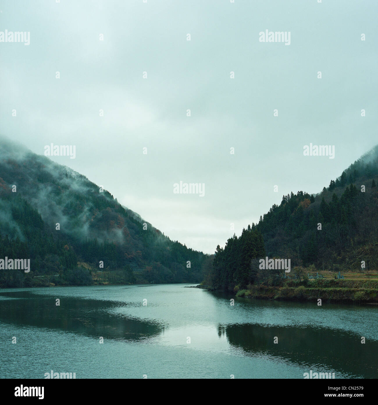 Tadami Fluss, Fukushima, Japan Stockbild