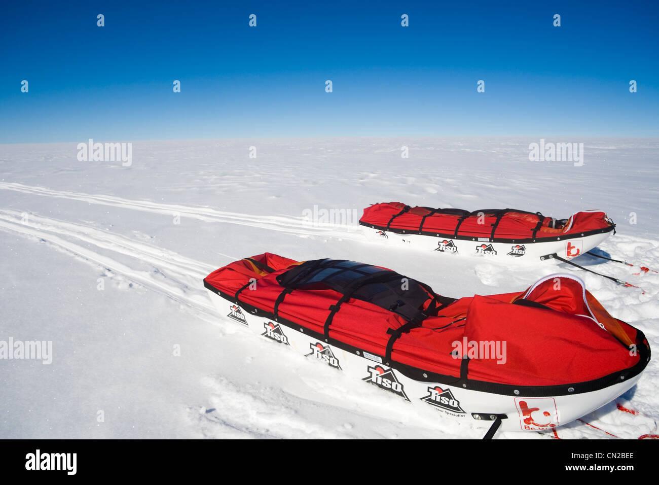Polarkreis - Polar-Expedition Schlitten Eiskappe, Grönland Stockbild