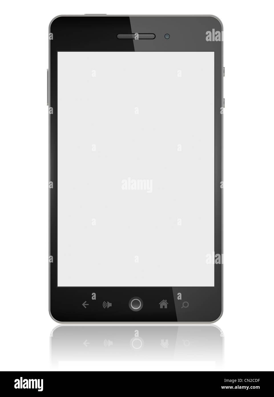 Smartphone mit unbelegten Schirm isoliert Stockbild