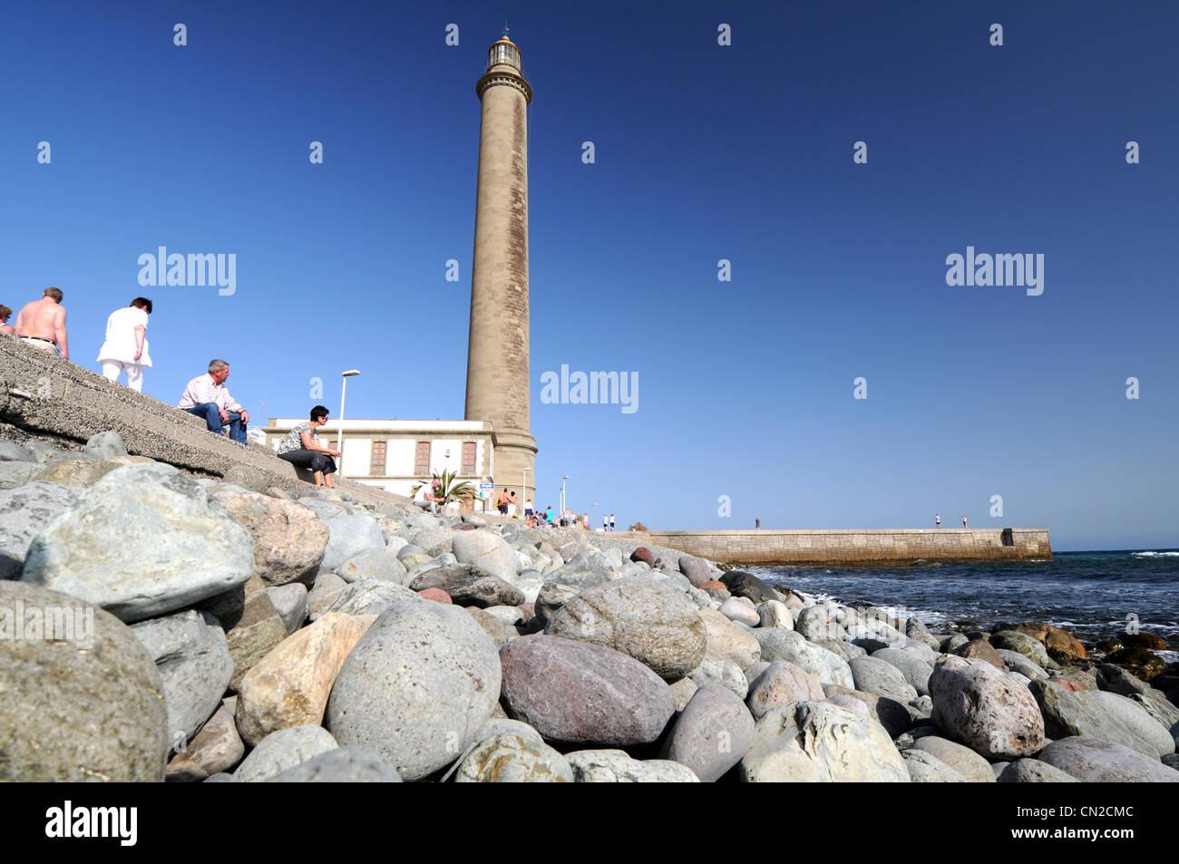 Leuchtturm, Leuchtturm, Gran Canaria, Kanarische Inseln in Maspalomas Stockbild