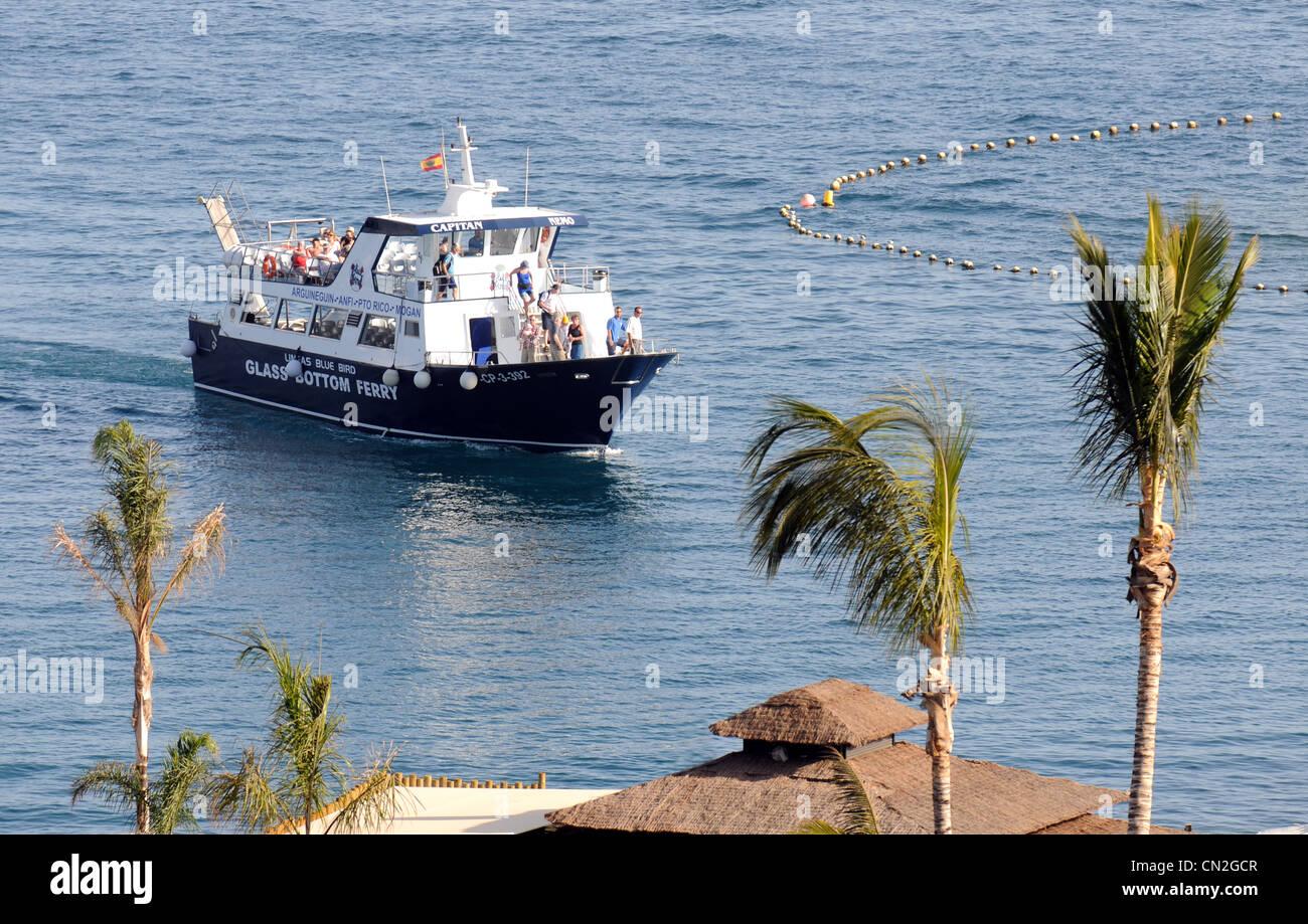 Glasboden Boot, Anfi Del Mar Resort, Gran Canaria, Kanarische Inseln Stockbild