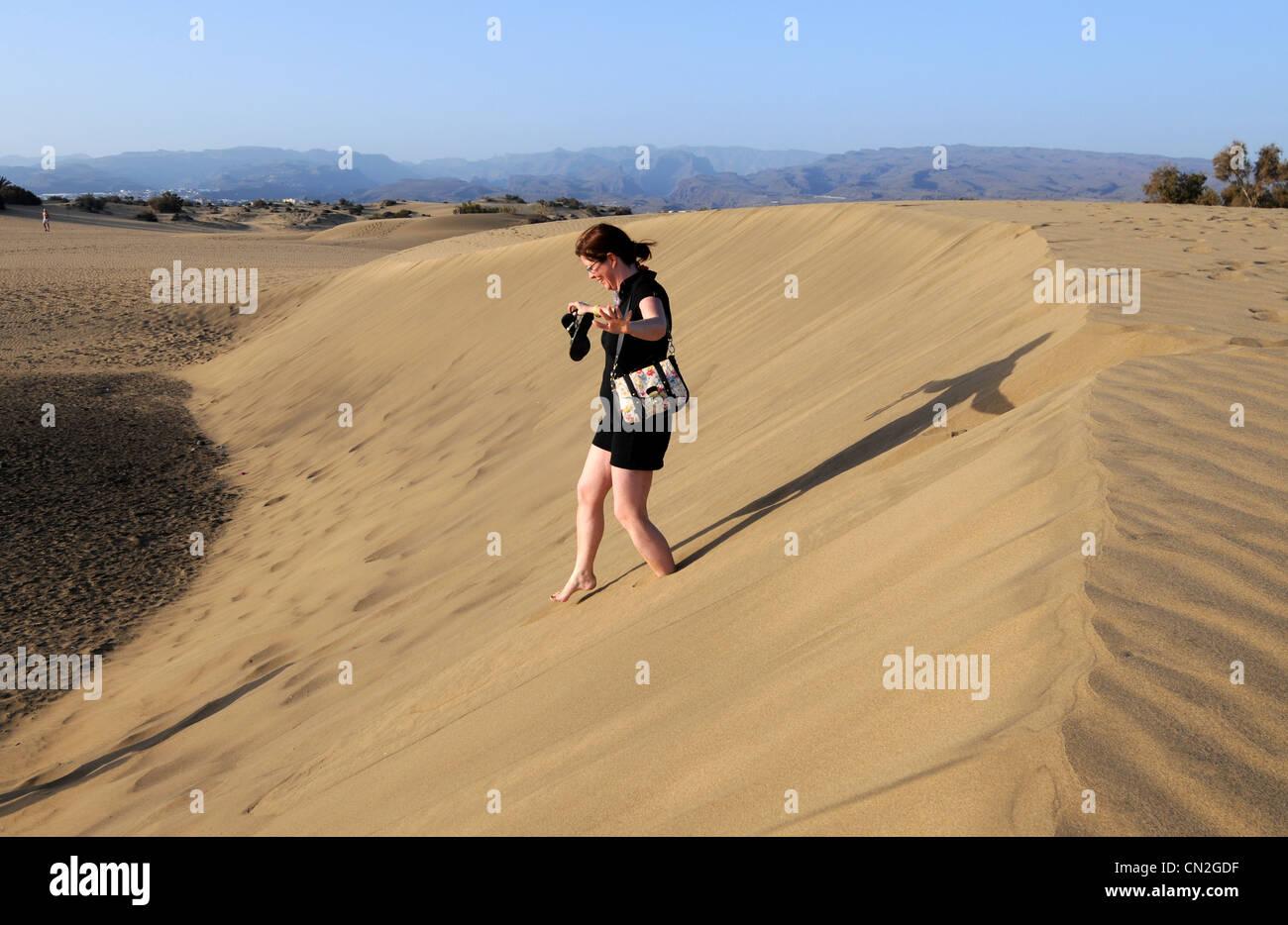 Sanddünen, Maspalomas, Dünen, Gran Canaria, Kanarische Inseln Stockbild