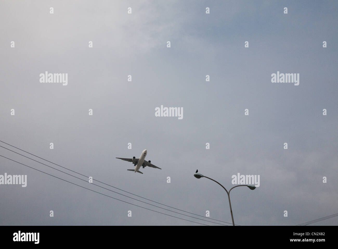 Flugzeug, niedrigen Winkel Ansicht Stockbild