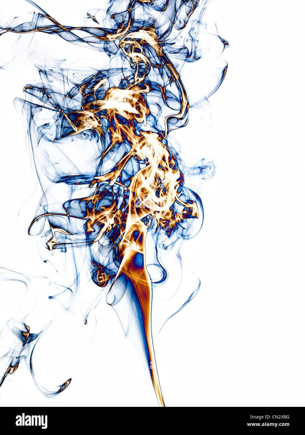 Rauchen auf weißem Hintergrund Stockbild