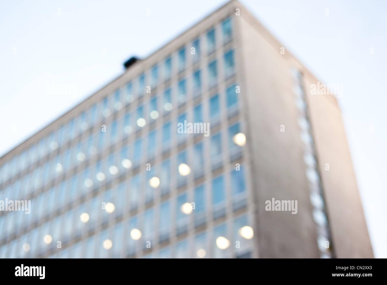 Verschwommene Gebäudehülle, London, England Stockbild