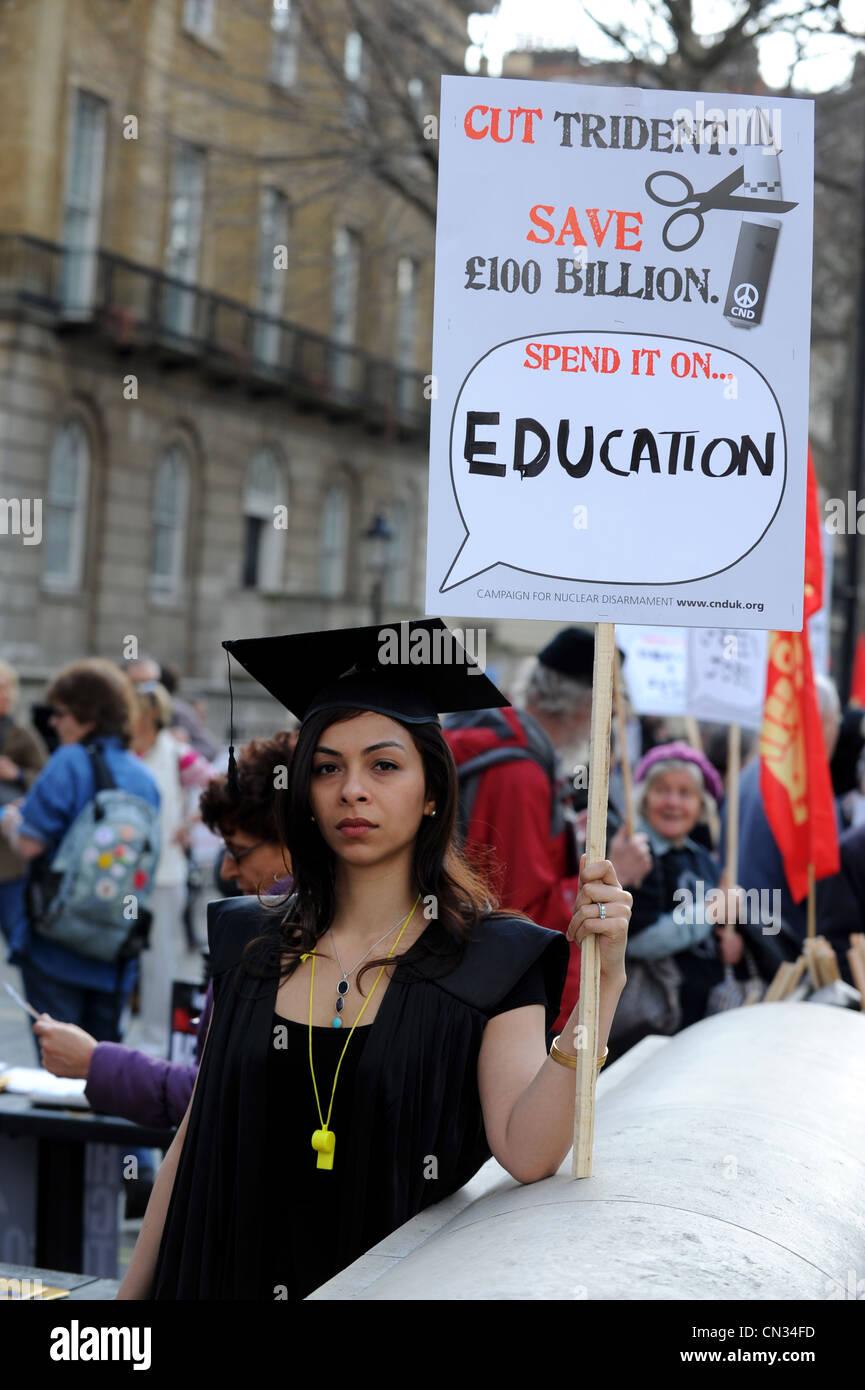 Kursteilnehmerprotest, London, UK Stockbild