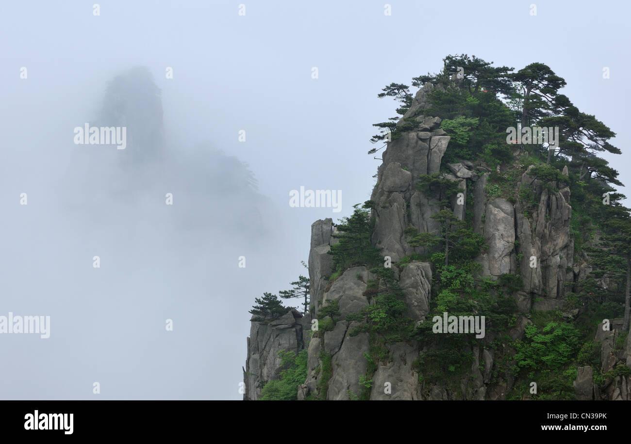 Blick vom Anfang bis zum Glauben, Lookout, Huangshan-Gebirge, Provinz Anhui, China Stockbild