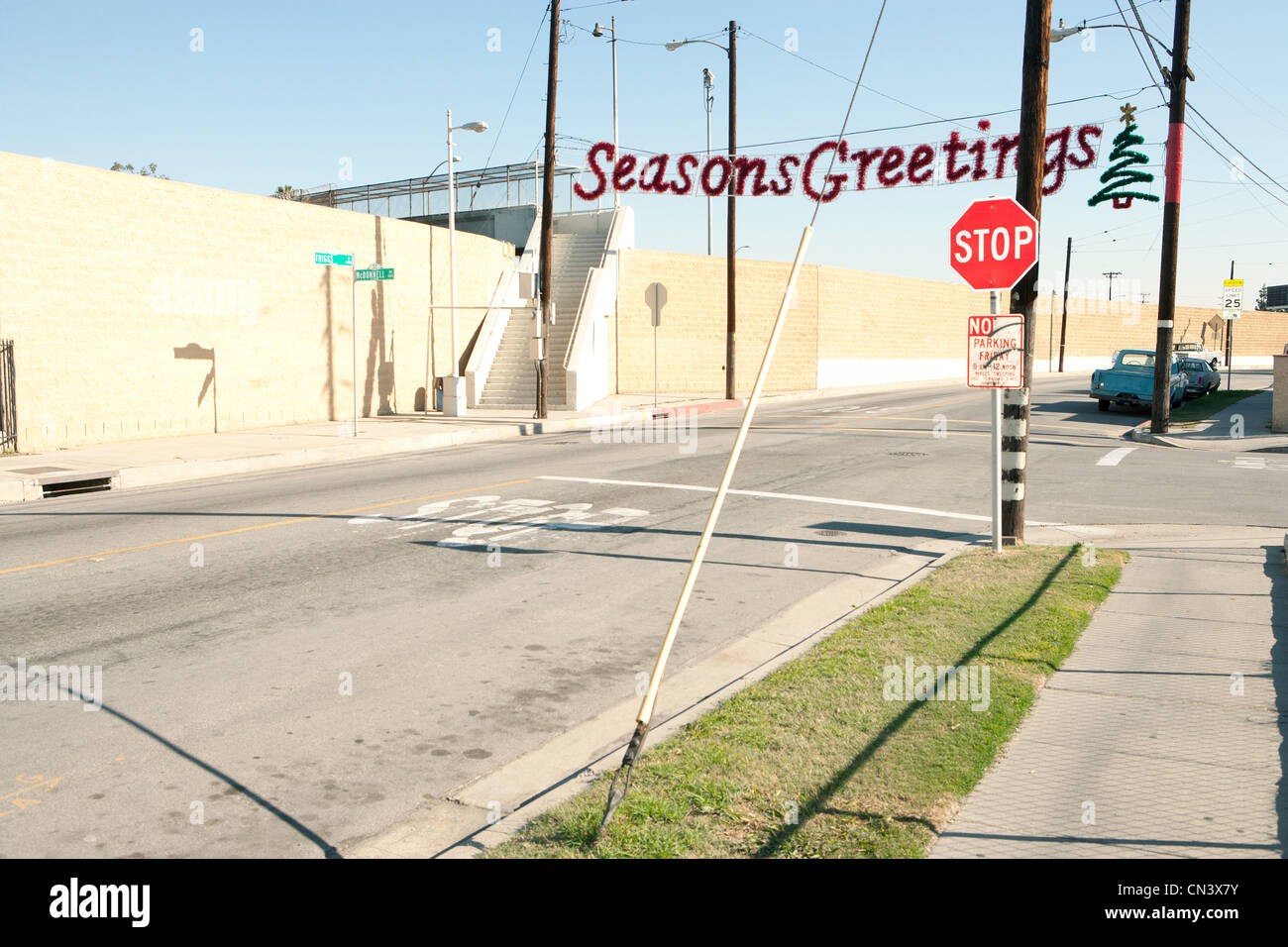 Seasons Greetings Banner im düsteren Viertel Stockbild