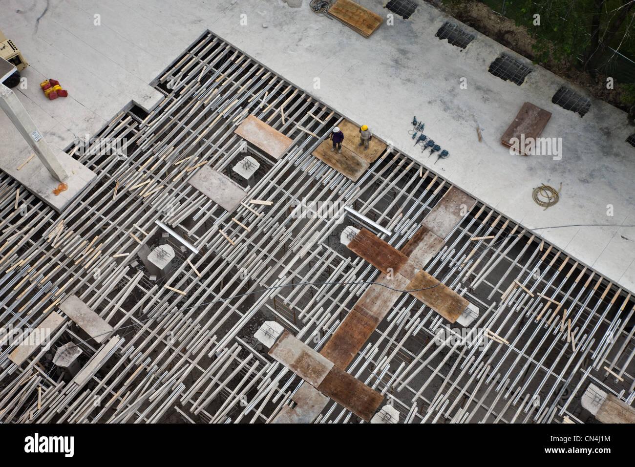 Baustelle, von oben gesehen Stockbild