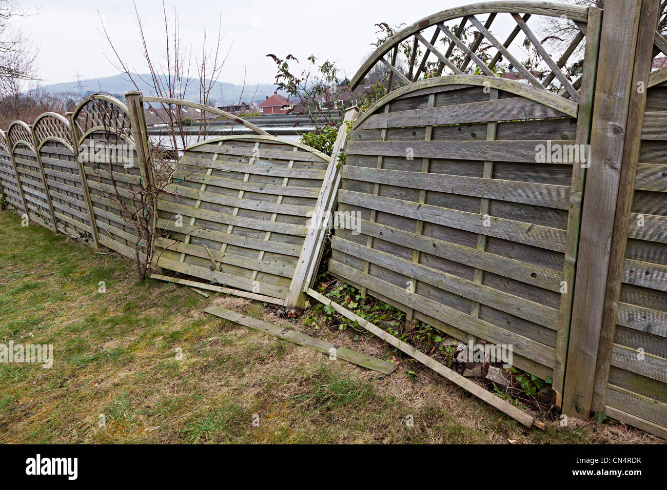 Gebrochene Zaun Im Garten Wegen Sturm Schaden Wales Uk Stockfoto