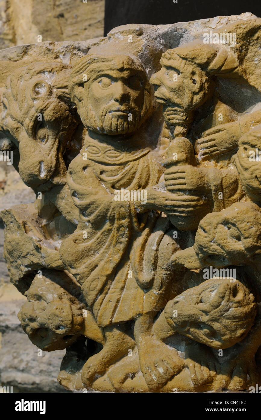 Frankreich, Aude, Abtei von St-Papoul, Hauptstadt zugeschrieben, der Meister der Cabestany (Reproduktion) Stockbild