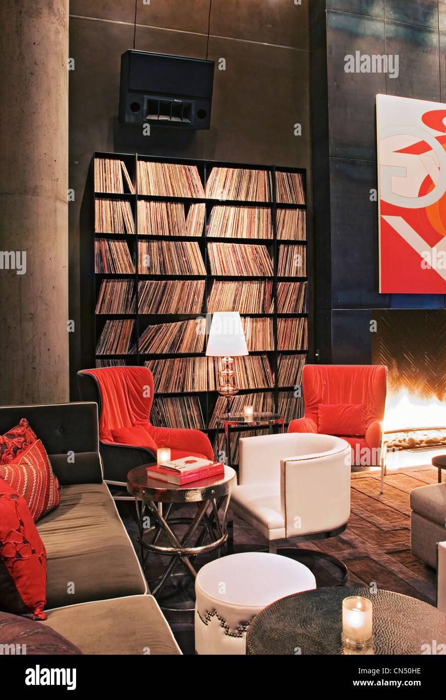 Wohnzimmer im W Austin Hotel Stockbild