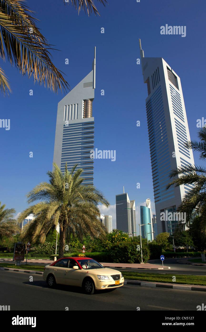Vereinigte Arabische Emirate, Dubai, das Finanzzentrum mit Emirates tower Stockbild
