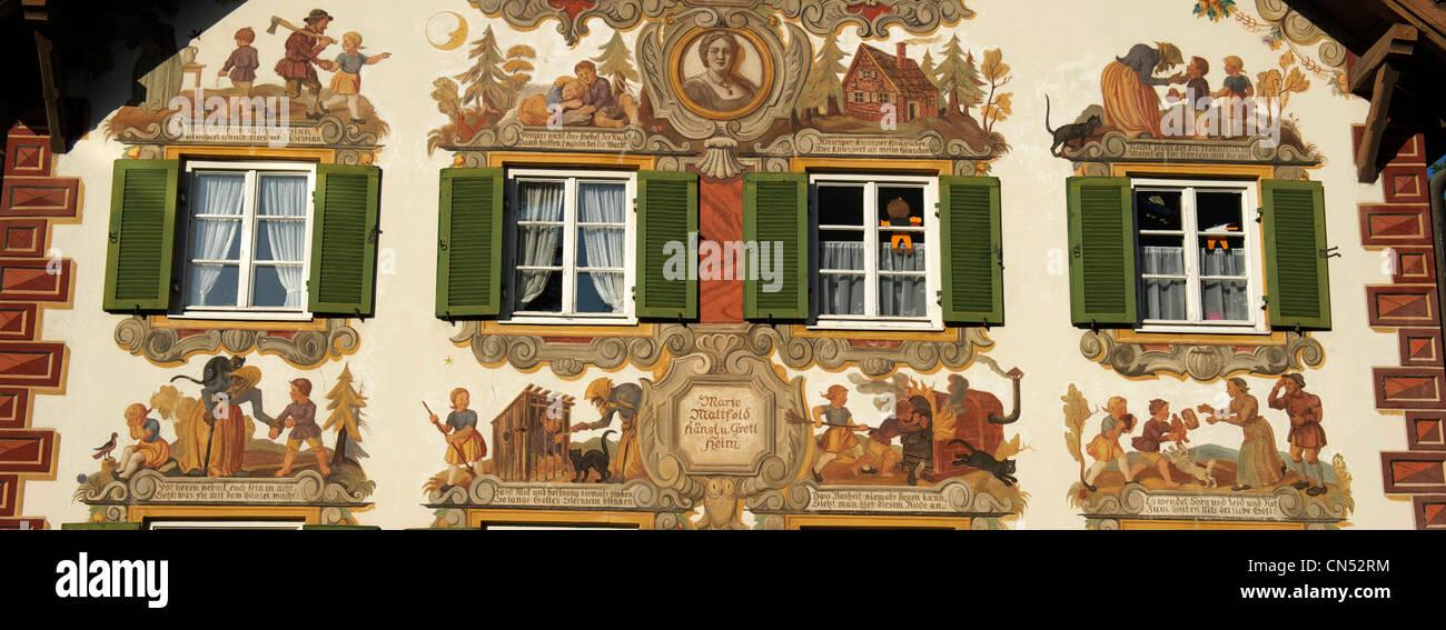 Deutschland, Bayern, Oberammergau, Malerei Haus Stockbild