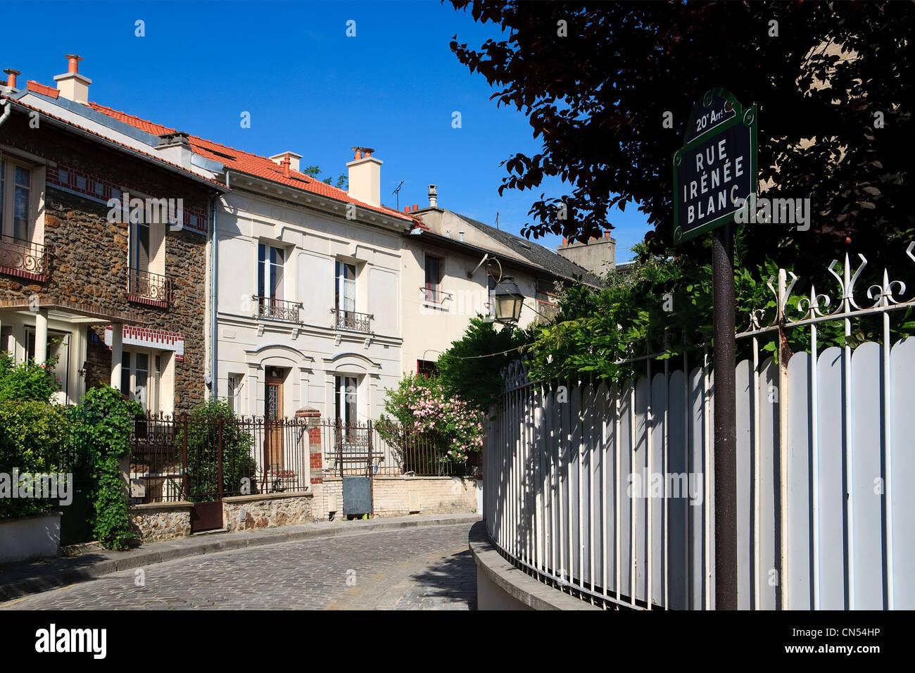 Frankreich, Paris, La Campagne eine Paris, Häuser mit Garten im ...