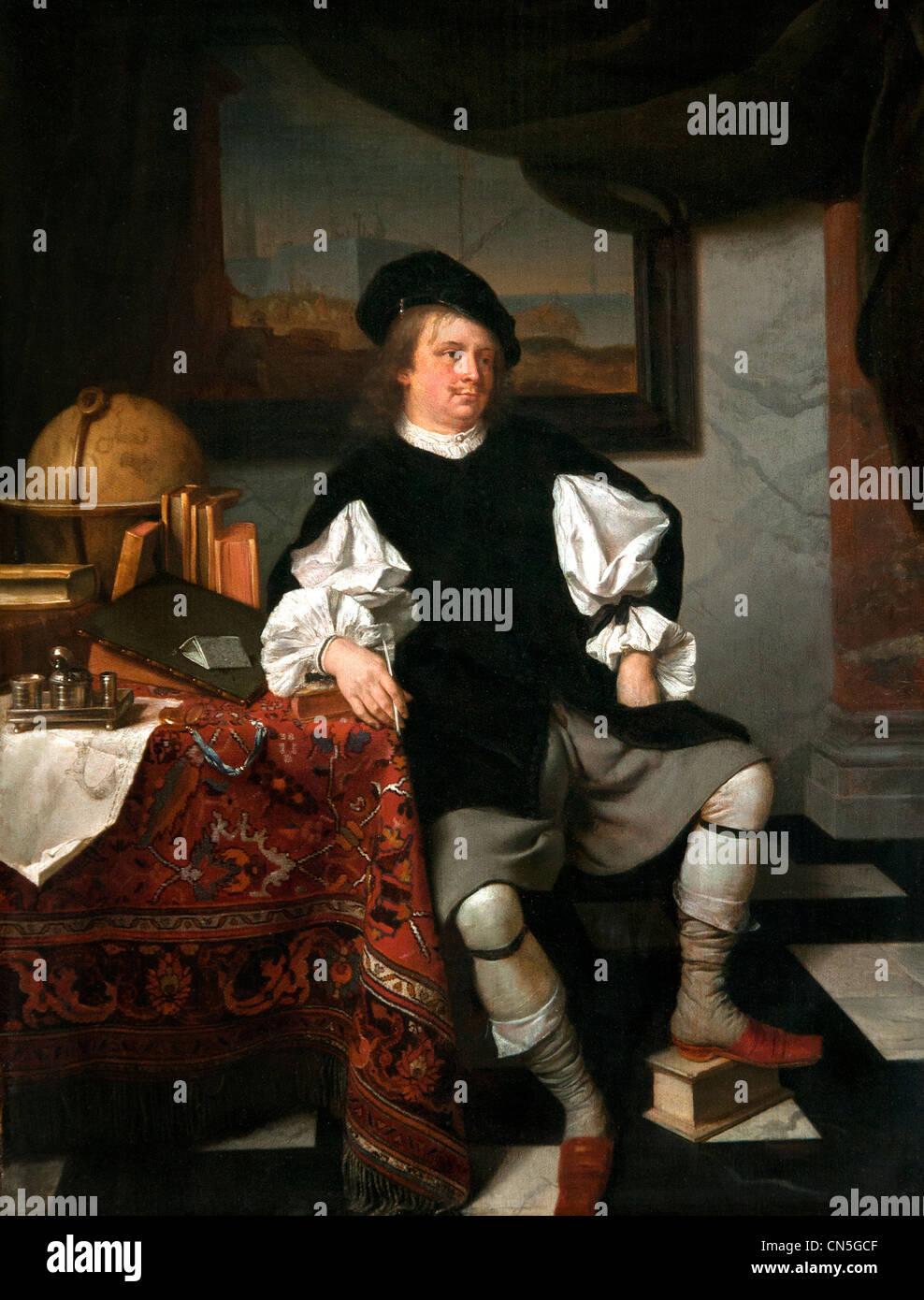 Wissenschaftler (oder Händler) In seinem Büro Eglon van der Neer 1634 bis 1703 Niederlande Niederlande Stockbild