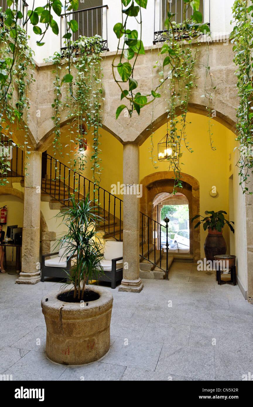 Spanien, Extremadura, Caceres, Palais de Oquendo, Terrasse Stockbild