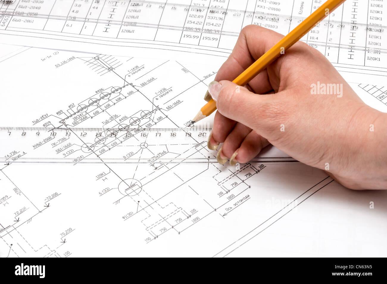 Architecture Blueprint Compass Computer Stockfotos & Architecture ...
