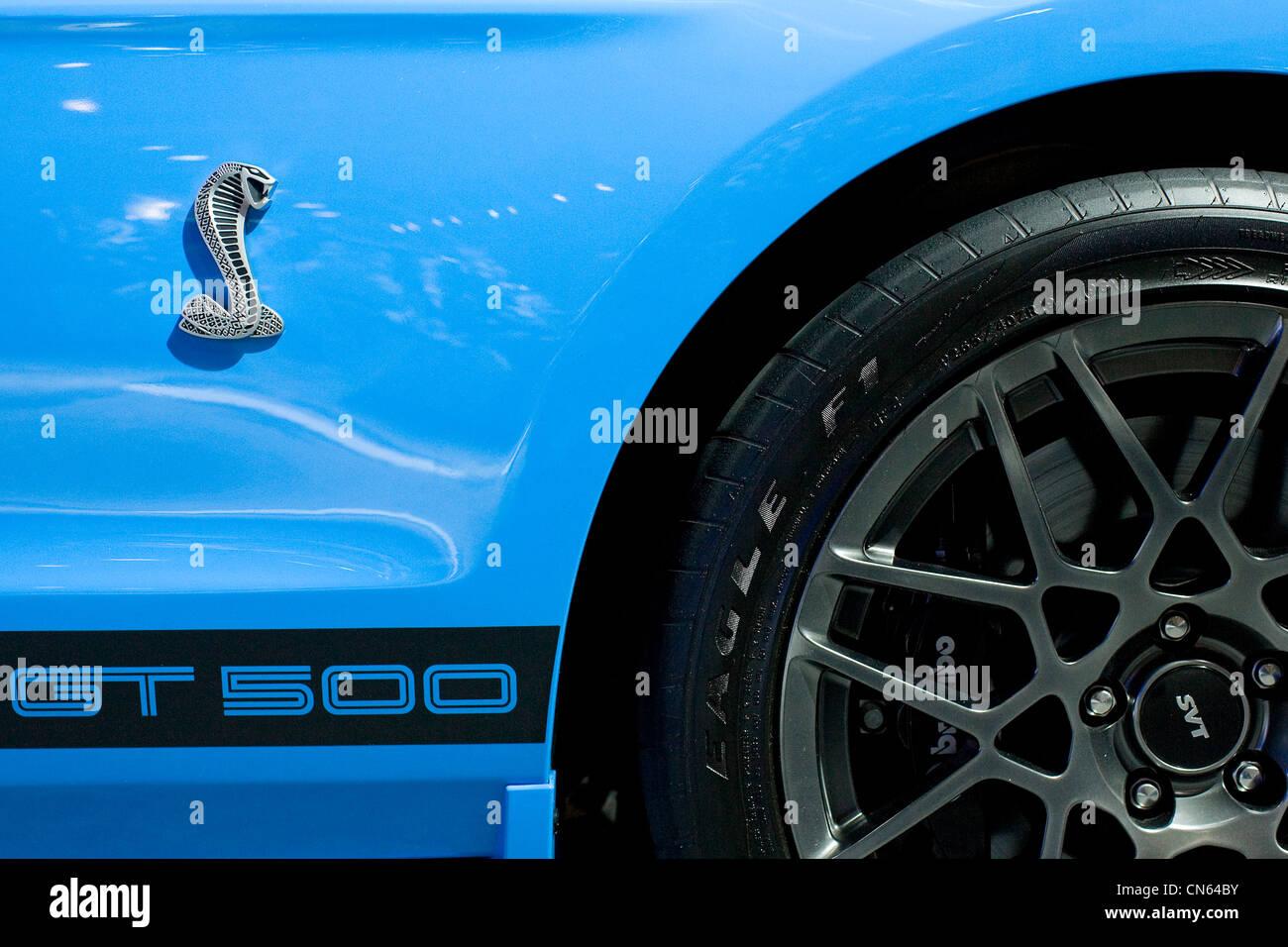 Ein Ford Shelby GT 500 Cobra Mustang auf dem Display an der Washington Auto Show 2012. Stockbild