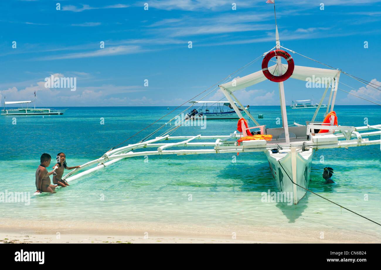 Frohe Feiertage Strand Spaß Lustige Wasser Meer Blau Philippinen