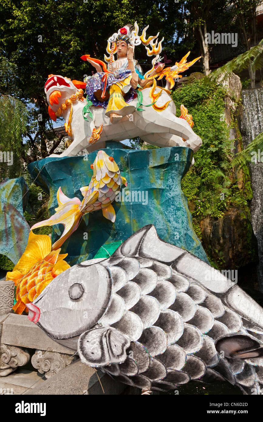 Lantern Festival Papiermodell Longshan oder Lungshan Tempel Taipei Taiwan. JMH5694 Stockbild