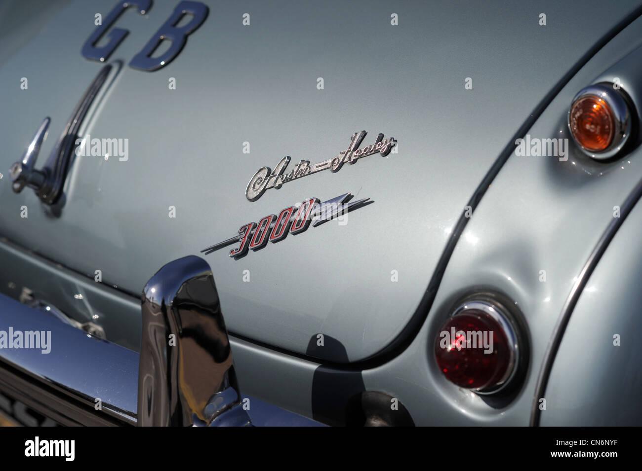 Austin Healey 3000 Auto chrom Stoßfänger hinten sehen. Stockbild