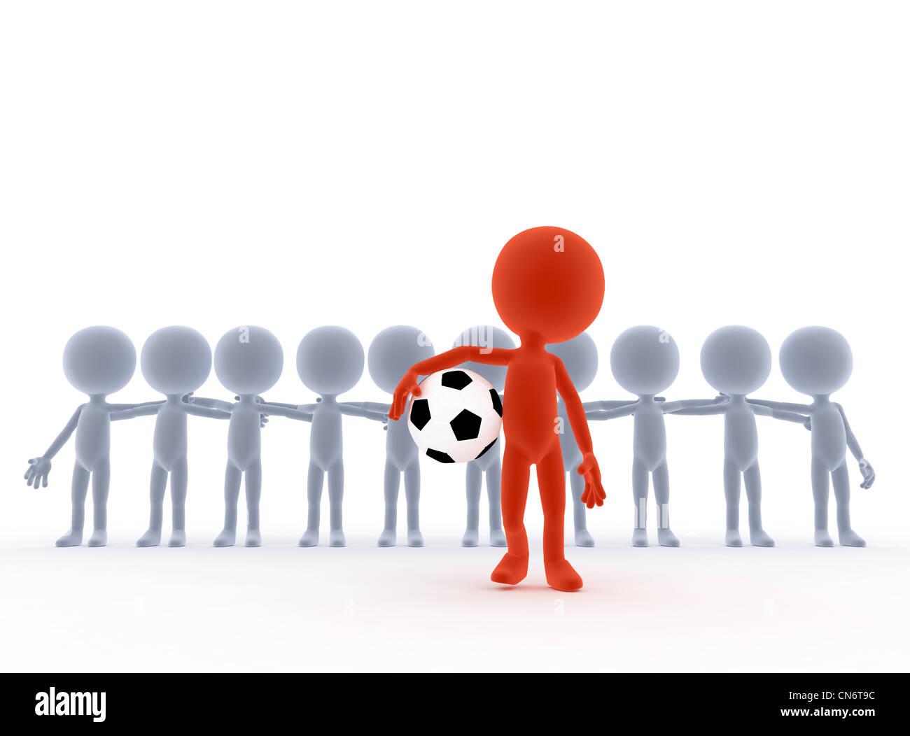 Fußball, Fußball-Teamchef mit Ball und seinem Volk. Toons, konzeptionelle Stockbild