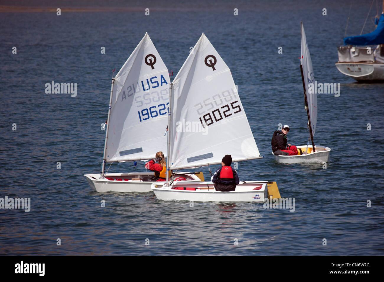Optimist-Boote Stockbild