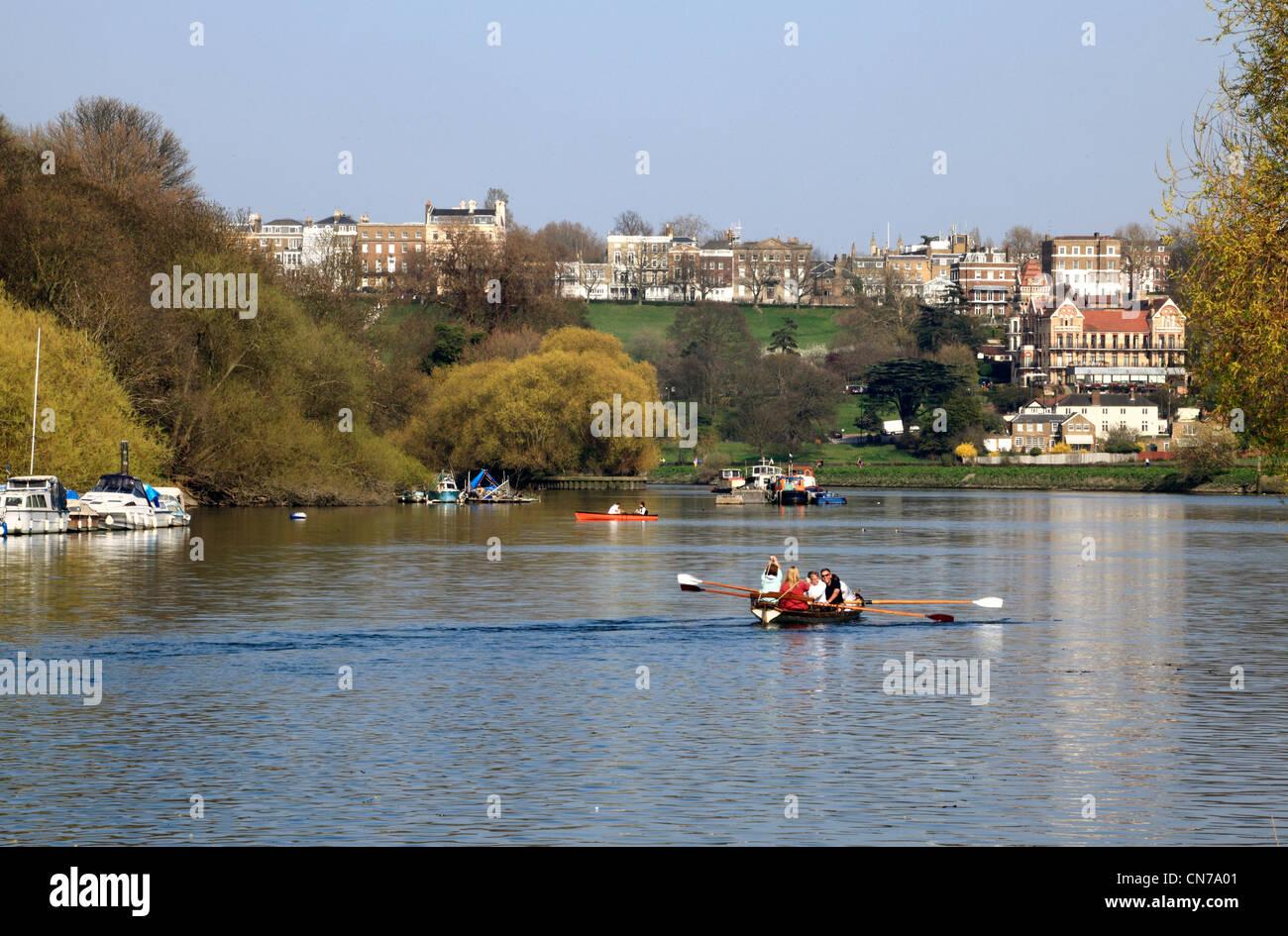 Richmond Hill und die Themse in Surrey Stockbild