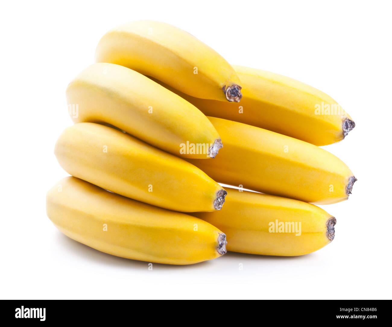 Frische reife Bananen Bund isolierten auf weißen Hintergrund Stockbild