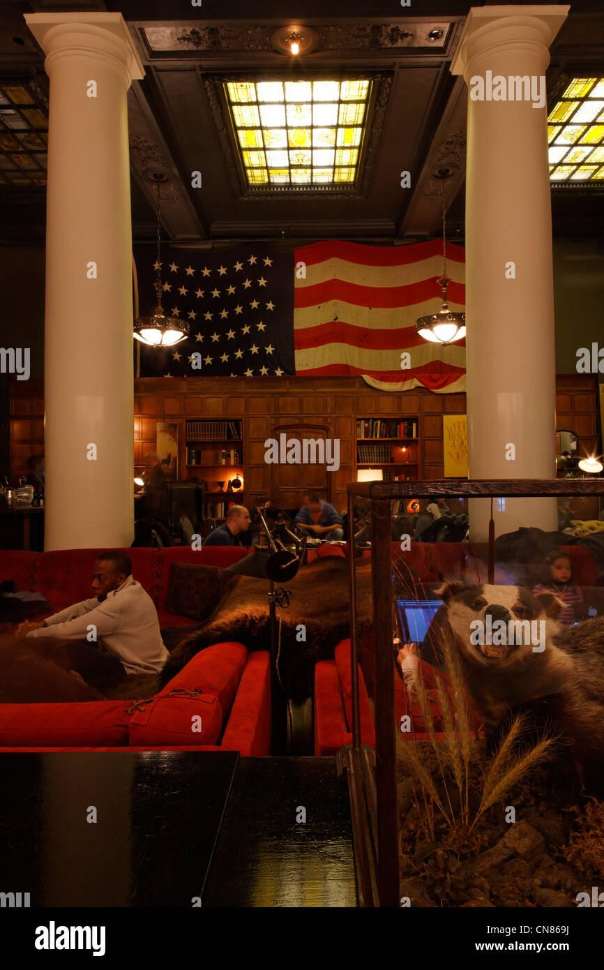 Vereinigte Staaten, New York City, Manhattan, Ace Hotel, Lobby, 20 West 29th Street Stockfoto