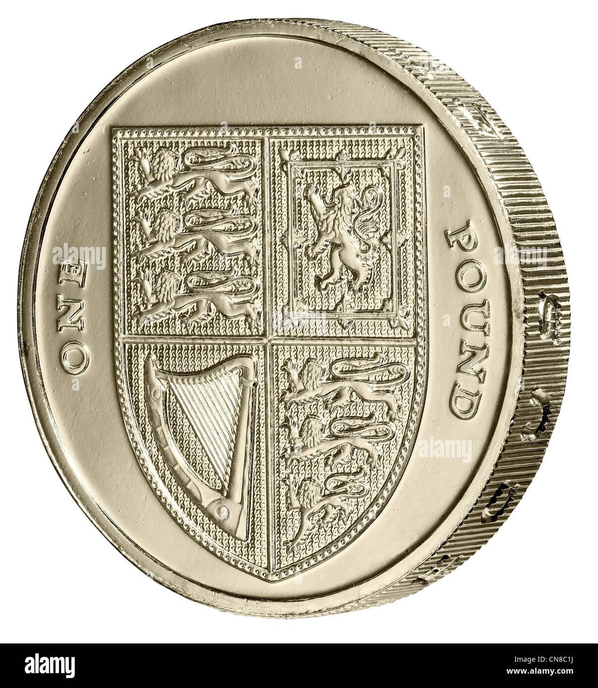 1 Ein Pfund Münze Winkel Schwänzen Auf Der Rückseite Schwänzen