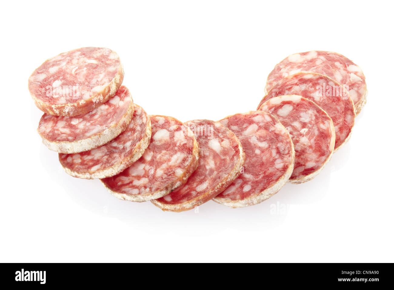 Salami-Scheiben Stockbild