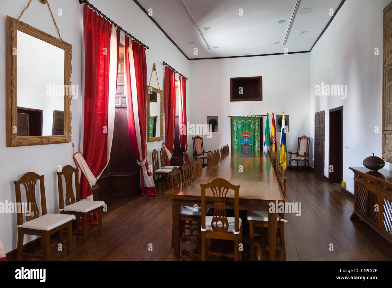 Casa del Timple in Teguise, Museums-und Erbe gewidmet der Kanarischen 5-saitige Instrument - Zustand Zimmer Stockbild