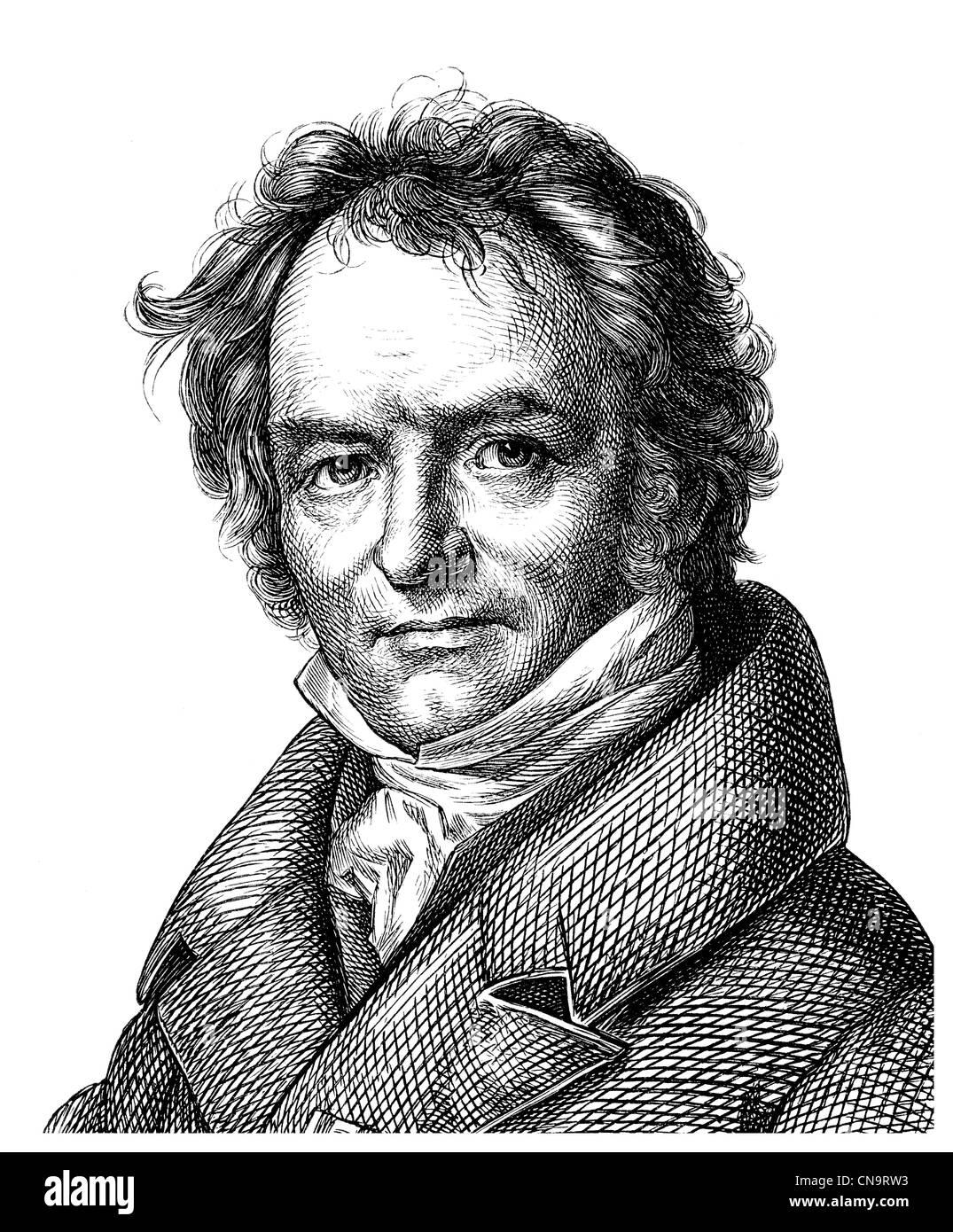 Historische Zeichnung, 19. Jahrhundert, Carl Ritter, 1779 ? 1859, Mitbegründer der wissenschaftlichen Geographie Stockbild