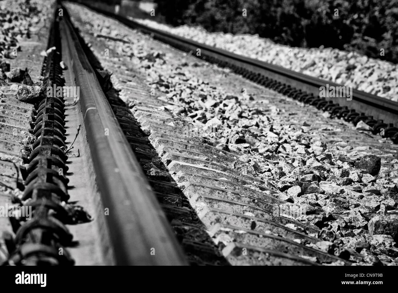 BW-Bild der Eisenbahn Zug Stockbild