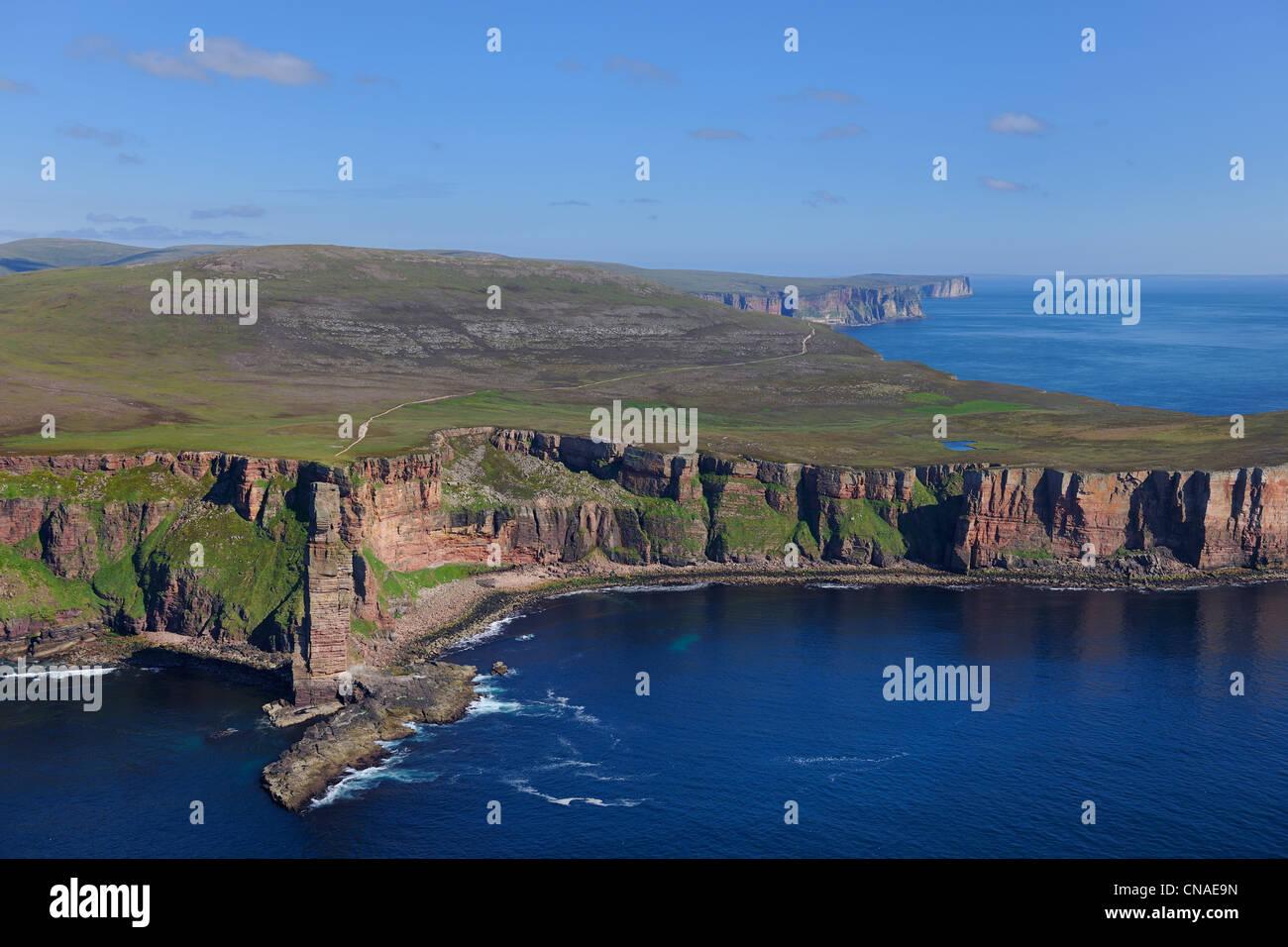 Großbritannien, Schottland, Orkney-Inseln, Insel Hoy, das unverwechselbare Wahrzeichen Old Man of Hoy ist ein Stockbild