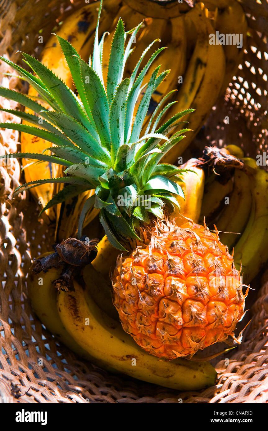 Dominica, Obstkorb aus lokaler Produktion Stockbild