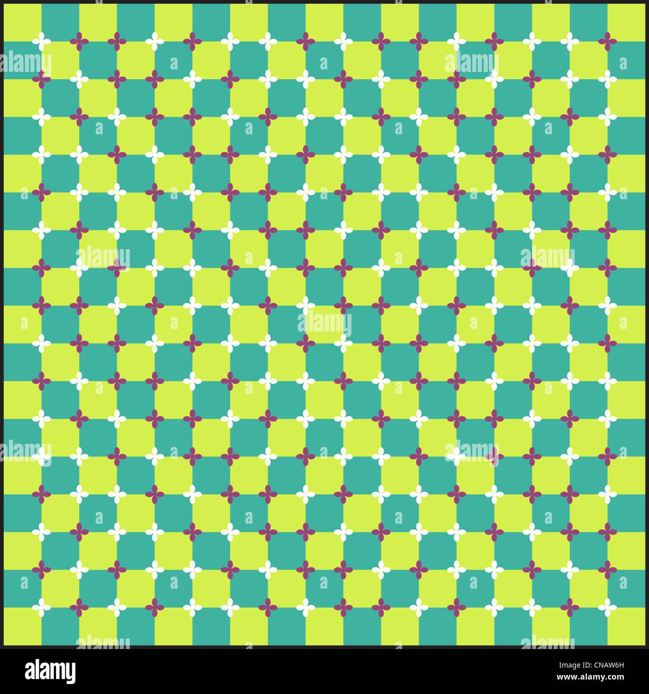 Optische Täuschung, bunte Blöcke, verschiedene Formen Stockbild