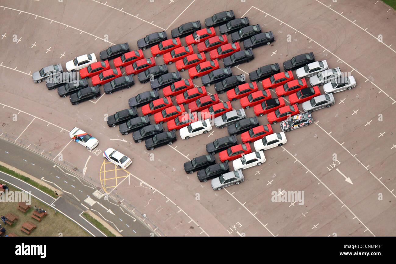 Luftaufnahme der M-Serie BMW Autos in Gaydon Stockbild