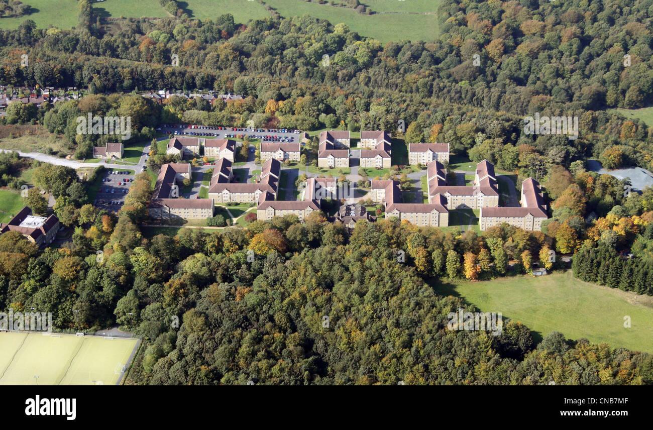 Luftaufnahme des Storthes Hall, Teil des Huddersfield University Stockbild