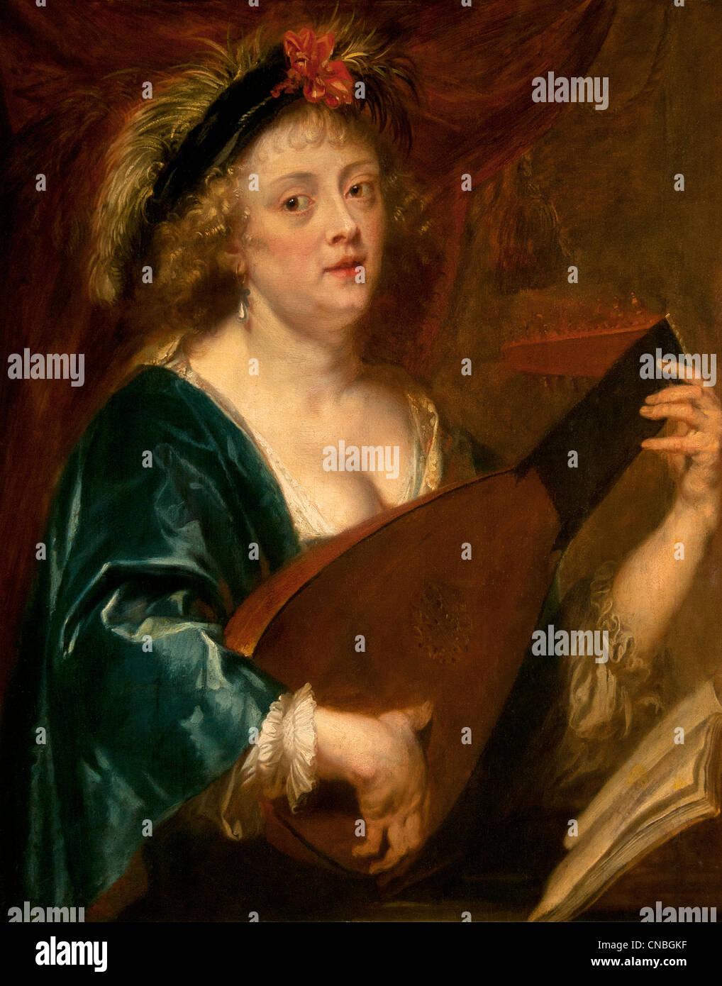 Portrait de Femme Jouant au Luth - Porträt der Frau spielt die Laute von Jan van Den Hoecke 1611 ? 1651 Belgien Stockbild