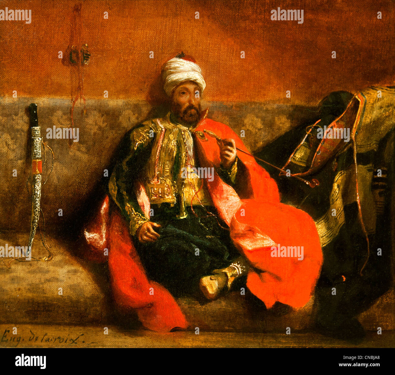 TURC fumant Assis Sur un Divan - Turk Rauchen sitzen auf einer Couch durch Ferdinand Victor Eugène Delacroix Stockbild